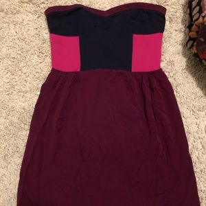 Urban Outfitters block color strapless dress